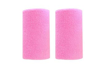 (Pink) - BBOLIVE 1.2m Inch Wrist Sweatband in 29 Different Neon Colours - Athletic Cotton Terry Cloth - Great for All Outdoor Activity(1 Pair)