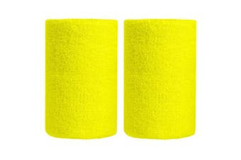 (Yellow) - BBOLIVE 1.2m Inch Wrist Sweatband in 29 Different Neon Colours - Athletic Cotton Terry Cloth - Great for All Outdoor Activity(1 Pair)