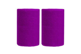 (Red Purple) - BBOLIVE 1.2m Inch Wrist Sweatband in 29 Different Neon Colours - Athletic Cotton Terry Cloth - Great for All Outdoor Activity(1 Pair)