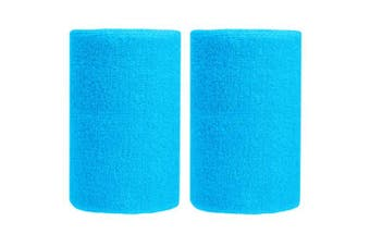 (Sky Blue) - BBOLIVE 1.2m Inch Wrist Sweatband in 17 Different Neon Colours - Athletic Cotton Terry Cloth - Great All Outdoor Activity(1 Pair)