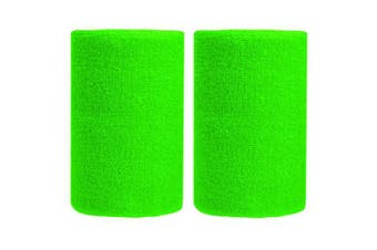 (Green Yellow) - BBOLIVE 1.2m Inch Wrist Sweatband in 29 Different Neon Colours - Athletic Cotton Terry Cloth - Great for All Outdoor Activity(1 Pair)