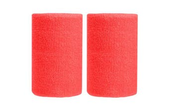 (Watermelon Red) - BBOLIVE 1.2m Inch Wrist Sweatband in 29 Different Neon Colours - Athletic Cotton Terry Cloth - Great for All Outdoor Activity(1 Pair)