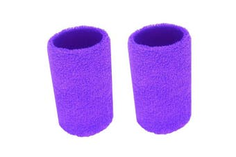(Soft Purple) - BBOLIVE 1.2m Inch Wrist Sweatband in 17 Different Neon Colours - Athletic Cotton Terry Cloth - Great All Outdoor Activity(1 Pair)