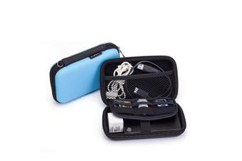 Electronics Kit Carry Pouch Gadget Accessories Organiser Storage Bag Case for U-Disc Headset USB Drive Cable Power Charger (Medium, Blue)