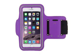 (Purple) - iCOM32 Running, Jogging, Gym, Workout Armband + Key Holder for Apple iPhones 8 7 6 and 6S (12cm ) (Purple)