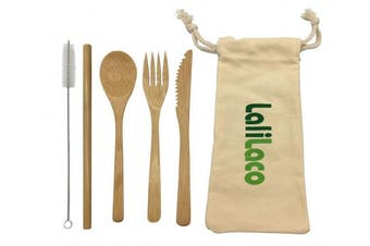 LaliLaco Bamboo Cutlery Kits | Knife Fork Spoon Straw Reusable Degradable | Environmentally Friendly Bag | A Straw Brush For Cleaning