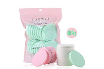 (40Pcs Round) - 40pcs Cosmetic Powder Puff Foundation Cosmetics Facial Beauty Sponges For Makeup Application Blending Sponge Puff-Wet/Dry Use For Coverage Powder, Cream, Liquid Foundation Cosmetics (40pcs/2bags)