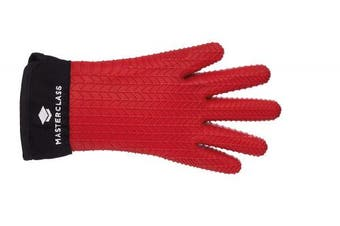 (Five-Fingered Glove) - KitchenCraft MasterClass Waterproof and Heat Resistant Silicone Oven Glove with Fingers, Red, One Size