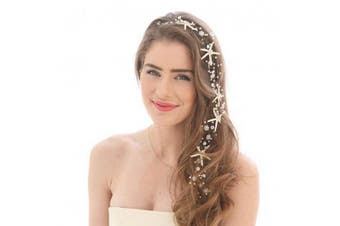 (Silver1) - Simsly Bride Starfish Wedding Hair Vines Silver Headbands Bridal Hair Piece Wedding Hair Accessories for Women and Girls FS-240 (Silver1)