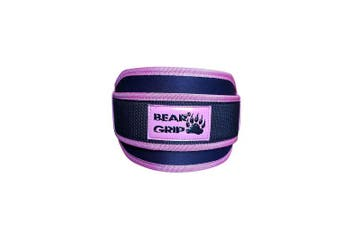 (PINK/BLACK, X-Small) - BEAR GRIP - Gym Weight Lifting Neoprene Double Belt Back Lumbar Support Fitness Exercise Bodybuilding