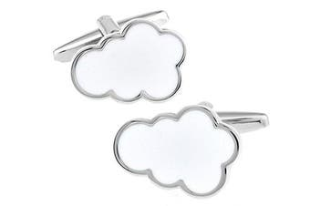 Ashton and Finch Silver White Enamel Cloud Cufflinks in a Free Luxury Presentation Box. Novelty Weather Theme Jewellery