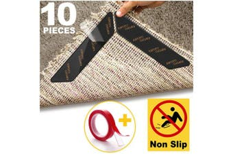 (130*25mm) - Rug Gripper for Wooden Floors, 10pcs Anti Curling Rug Gripper for Wooden Floors, Non Slip Rug Grip Carpet Sticker Anti Slip Rug Underlay to keep your Rug in Places & Makes Corners Flat