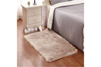 (Brown, 80cm  x 180cm ) - DQMEN Faux Fur Rug White Soft Fluffy Rug Shaggy Rugs Faux Sheepskin Rugs Floor Carpet for Bedrooms Living Room Kids Rooms Decor (Brown, 80cm x 180cm )