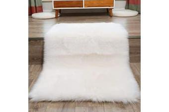 (White, 80cm  x 180cm ) - DQMEN Faux Fur Rug White Soft Fluffy Rug Shaggy Rugs Faux Sheepskin Rugs Floor Carpet for Bedrooms Living Room Kids Rooms Decor (White, 80cm x 180cm )