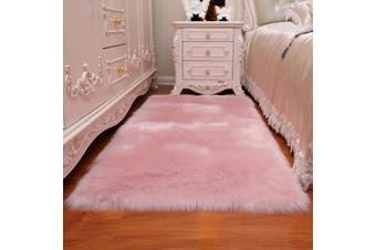 (Pink, 80cm  x 180cm ) - DQMEN Faux Fur Rug White Soft Fluffy Rug Shaggy Rugs Faux Sheepskin Rugs Floor Carpet for Bedrooms Living Room Kids Rooms Decor (Pink, 80cm x 180cm )