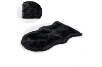 (Black, 50 x 80cm) - KAIHONG Faux Fur Sheepskin Style Rug (50 x 80 cm) Faux Fleece Chair Cover Seat Pad Soft Fluffy Shaggy Area Rugs For Bedroom Sofa Floor (black, 50 x 80cm)