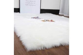 (80 x 180 CM, White) - DAOXU Faux Fur Rug Soft Fluffy Rug (80 x 180 CM) Shaggy Rugs Faux Sheepskin Rugs Floor Carpet for Bedrooms Living Room Kids Rooms Decor (80 x 180 CM, White)