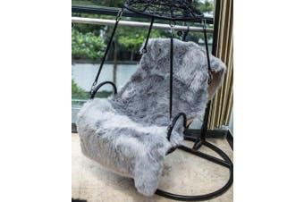 (50 x 150CM, Grey) - DAOXU Faux Fur Sheepskin Rug 150 x 50 cm Faux Fleece Chair Cover Seat Pad Soft Fluffy Shaggy Area Rugs (Grey, 150x50CM)