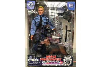 Click N' Play Police Force Unit, Officer with Dog 30cm Action Figure Play Set with Accessories.