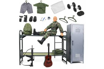 Click N' Play Military Camp Bunk House Life 30cm Action Figure Play Set with Accessories.
