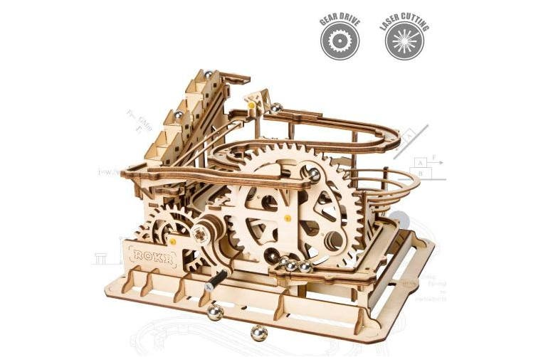 (Coaster 01-Waterwheel) - ROKR Mechanical 3D Wooden Puzzle Model Kit Adult Craft Set Educational Toy Building Engineering Set Christmas Year/Birthday/Thanksgiving Day Gift Adults Boys Kids Age 14+(Waterwheel Coaster)