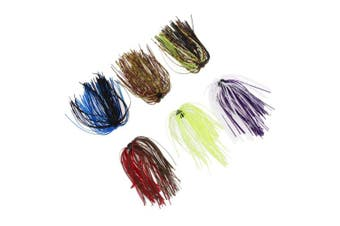 Demiawaking 6 Bundles 50 Strands Silicone Skirts Fishing Bait Mixed Colour for DIY Artificial Squid Jig Fishing Lures