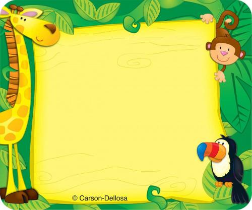 Carson Dellosa Jungle Name Tags (150002) These convenient, self-adhesive name tags are ideal for labelling, reminders, calendar and homework notes, and more! Each pack features 40 name tags, measuring 7.6cm x 6.4cm . Available in a variety of prints, name tags are fun addition to any classroom!