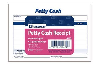 Adams Petty Cash Receipt Pad, 13cm x 8.9cm , 50 Sheets per Pad, Pack of 12 Pads (9672ABF)