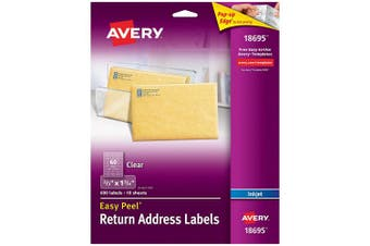 Avery Matte Frosted Clear Return Address Labels for Inkjet Printers, 1.7cm x 2.5cm - 1.9cm , 600 Labels (18695)