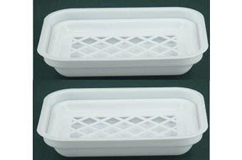 (2) - White Plastic Soap Dish with drain (2)