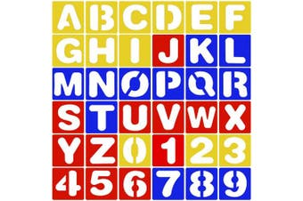 CKANDAY 36 Pieces Alphabet and Number Stencils Set, 3 Colours Plastic Letter Stencils for Painting Learning DIY Craft Decoration Journaling Scrapbooking Card and Art Projects, 10cm
