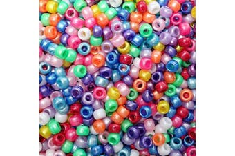 (Pearlized Rainbow Basics Mix) - Pearlized Rainbow Basics Multicolor Mix Plastic Craft Pony Beads, 6 x 9mm, 500 Beads
