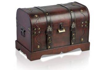 (San Diego 15,7x9,1x10,6 Inch) - Brynnberg Pirate Treasure Chest Storage Box - Durable Wood & Metal Construction - Unique, Handmade Vintage Design With A Front Lock Padlock - Striking Decorative Element - Gift (15.7x 9inch x 27cm )