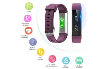 (Standard, Purple) - Letsfit ID115U HR Fitness, Heart Rate Sleep Monitor and Step, Waterproof Activity Tracker with Calorie Counter, Pedometer Watch for Kids Women Men
