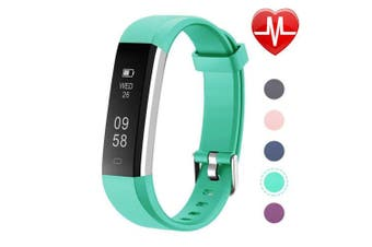 (Standard, Green) - Letsfit ID115U HR Fitness, Heart Rate Sleep Monitor and Step, Waterproof Activity Tracker with Calorie Counter, Pedometer Watch for Kids Women Men