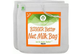 """(2) - Pro Quality Nut Milk Bag - 2 XL30cm x 12"""" Bags - Commercial Grade Reusable All Purpose Food Strainer - Food Grade BPA-Free - Ultra Strong Fine Nylon Mesh - Nutmilk, Juices, Cold Brew - Recipes & Videos"""