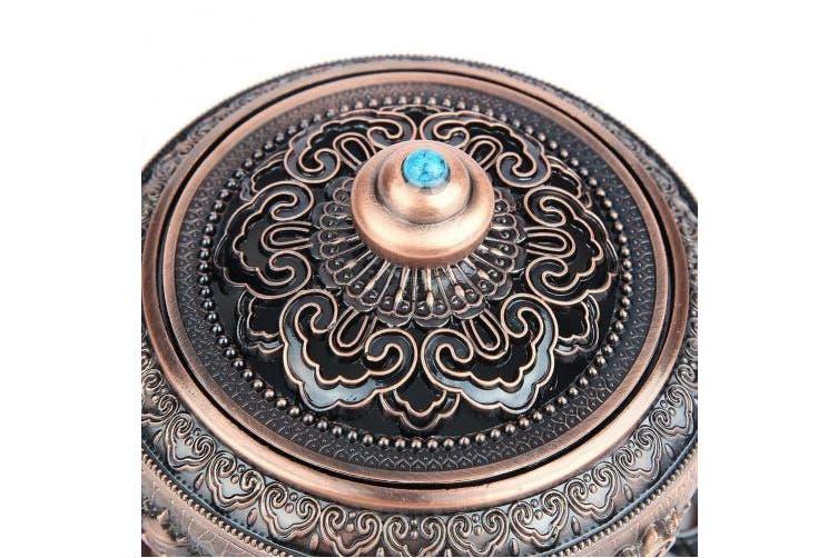 (Red Bronze) - Hilitand Incense Burner Tibet Lotus Pattern, Aluminium alloy-Artistic Carved Burner Container(Red Bronze)
