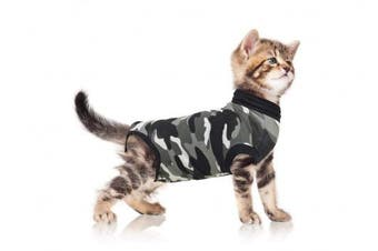 (X-Small) - Suitical Cat Recovery Suit - Black Camo