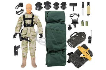 (Military Airborne Paratrooper Action Figure Playset) - Click N' Play Military Airborne Paratrooper 30cm Inch Action Figure Play Set with Accessories
