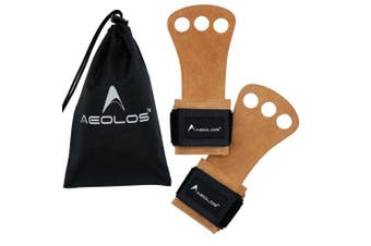 (Large, 4#Brown(2 layers leather)) - AEOLOS Leather Gymnastics Hand Grips-Great for Gymnastics,Pull up,Weight Lifting,Kettlebells and Crossfit Training