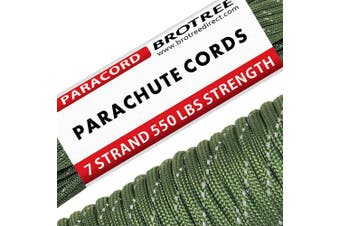 (Reflective Olive Green, 50 Metre) - Brotree 550 Paracord 7 Strand Nylon Parachute Cord Outdoor Survival Rope - 250kg Breaking Strength (Standard, Reflective)