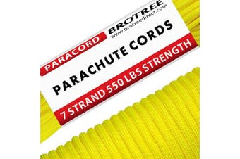 (Neon Yellow, 50 Metre) - Brotree 550 Paracord 7 Strand Nylon Parachute Cord Outdoor Survival Rope - 250kg Breaking Strength (Standard, Reflective)