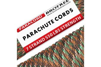 (Bionic Camo, 50 Metre) - Brotree 550 Paracord 7 Strand Nylon Parachute Cord Outdoor Survival Rope - 250kg Breaking Strength (Standard, Reflective)