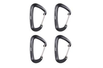(Black) - Azarxis 12KN Aluminium Wire Gate Carabiners Clips Buckle D-Ring Locking Heavy Duty Lightweight 1200kg Rating for Hammock Climbing Camping Hiking Utility Durable Spring Link