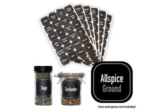 (Square Modern Black) - AllSpice 312 Preprinted Water Resistant Square Spice Jar Labels Set 3.8cm