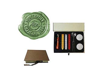 (Gift Box Kit 2) - MNYR Santa Claus Northpole Official Wax Seal Stamp Embellishment Wedding Invitation Card Mail Gift Wrap Wine Package Stainless Steel Melting Spoon Sealing Wax Gift Box Christmas Wax Seal Stamp Set