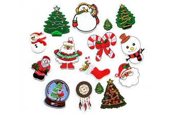 (Christmas Style) - 14pcs Christmas Embroidered Cloth Patches Iron-on or Sew-on Decorative Repairing Motif Badges Applique Dress Accessories(Christmas Themes,Assorted Colours & Sizes)