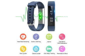 (Standard, Blue) - Letsfit ID115U HR Fitness, Heart Rate Sleep Monitor and Step, Waterproof Activity Tracker with Calorie Counter, Pedometer Watch for Kids Women Men