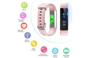 (Standard, Pink) - Letsfit ID115U HR Fitness, Heart Rate Sleep Monitor and Step, Waterproof Activity Tracker with Calorie Counter, Pedometer Watch for Kids Women Men
