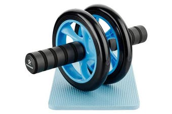 (Blue) - BODYMATE Abdominal exercise roller Dual wheel with foam handles - Includes extra thick knee pad - Ab wheel
